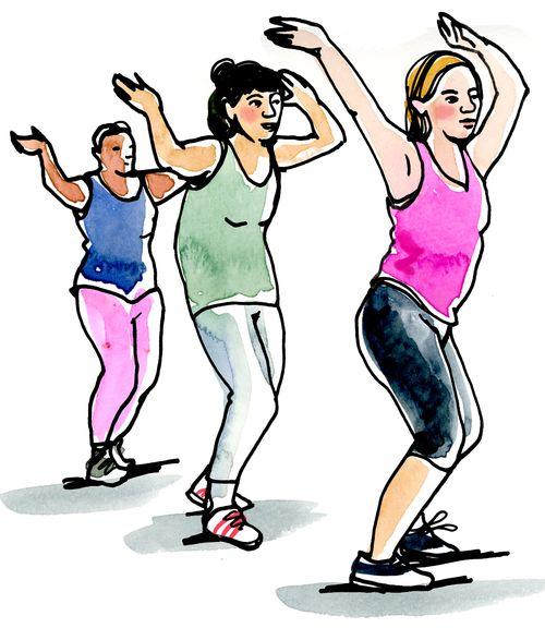 Tre kvinnor träningsdansar
